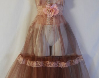 Tulle tea dress lace tea stained pink romantic boho  rose custom   by vintage opulence on Etsy