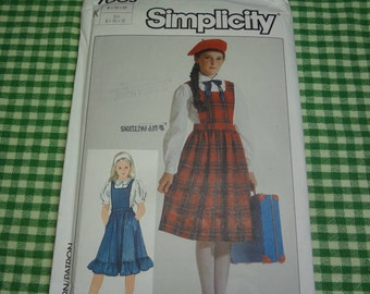 UNCUT Simplicity  #7003 Girls' EASY to Sew Jumper and Blouse PATTERN Size K(8-10-12)  1985