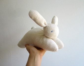 Big bunny, organic, 10.2 inch, cuddly, soft, natural, Waldorf style, eco-friendly, white, cotton, wool