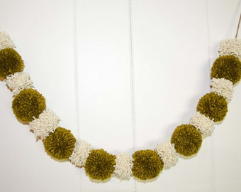 Olive and Cream Pom Pom Garland 17 Pom Poms Measures 80 Inches Perfect for Fall or Autum Photography Prop