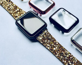 Glitter with Free Swarovski Crystals Apple Watch Band 38mm 42mm GOLD (Also available in Silver, Pink, Black. Blue) Womens Bling iWatch 38 42