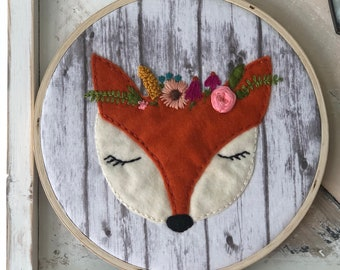 Frances the Fox Embroidered Hoop Art Wall Hanging