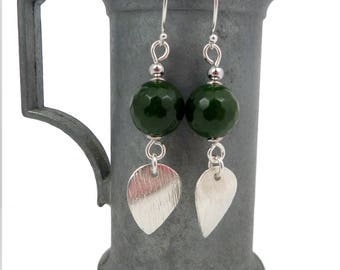 Silver and emerald earrings, gemstone drops textured charms