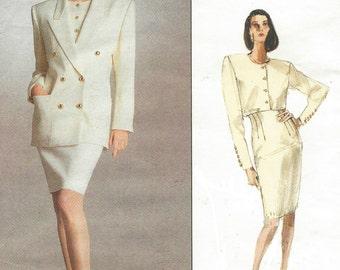 1980s Anne Klein Womens Below Hip Jacket, Top & Skirt Vogue Sewing Pattern 2067 Size 6 8 10 Bust 30 1/2 to 32 1/2 UnCut American Designer