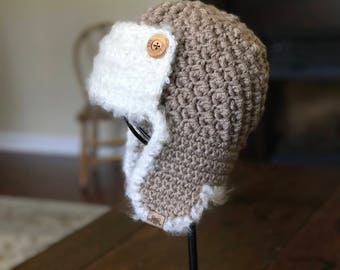 CROCHET AVIATOR PATTERN - Crochet Cumberland Aviator Hat Pattern 6 sizes included - Welcome to sell all finished items.