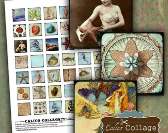 Nautical Collage Sheet - 1x1 inch inchies - 1x1 Square Collage sheets - Beach Images - Pinup images - Printable Paper - Decoupage Paper