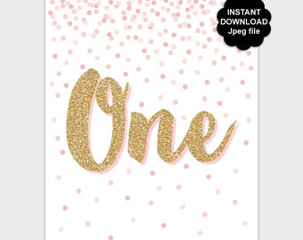 1st Birthday Table Sign, Big One Printable First Birthday Party Sign, Confetti Birthday Decor, Blush Pink Gold Glitter 8x10 Instant Download