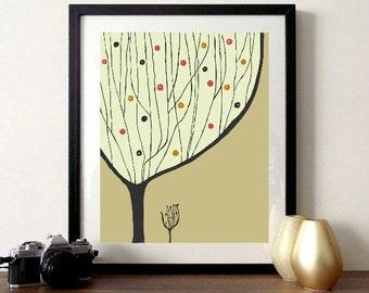 Whimsical Tree Art - Tan and Orange, Fall, Autumn, Fall Art, Autumn Art, Tree Art, Tree Print, Office Art, Kitchen Art, Nature, Nature Art