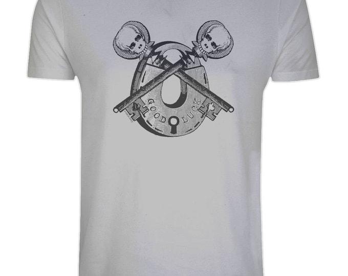 Good Luck Skeleton Key Vintage Padlock Skull Organic Cotton T-Shirt. Grey. Plus Sizes.