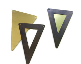 10 Antiqued and Raw Brass Triangle Pendants 50 x 34mm