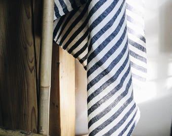 Linen Towel/  Narrow Navy Stripes Towel/ Blue White Towel / Linen blanket
