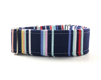 Stripes Dog Collar - Buckle or Martingale