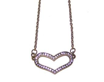 "18"" Antique Bronze Necklace - Heart with Rhinestones"