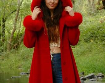 Coat With Hood / Long Red Coat / Fairy Tale Princess Coat /Wool Coat / Faux Fur Trim / Maxi Length