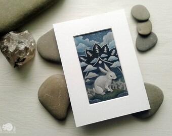 Rabbit Constellation 5x7 Print // Choice of White or Black Mat // Peaceful Blue Dreamworld Art // White Rabbit Full Moon