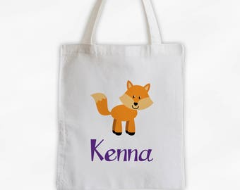 Personalized Fox Canvas Tote Bag - Forest Animal Custom Travel Overnight Bag for Boys or Girls - Reusable Tote (3042)