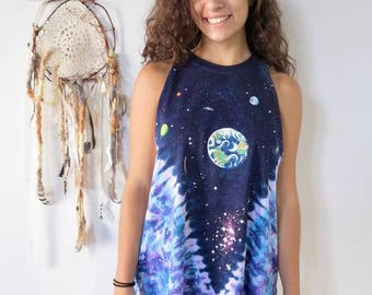 Tie Dye Space Cosmic Galaxy Print Fringe Tank Top Tee Top Shirt Womens Clothing One Size
