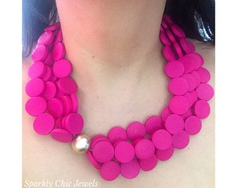 Fuschia Chunky Necklace, Chunky Necklace, Statement Necklace, Gifts for her, Wood Necklace, Hot Pink Necklace, Pink Necklace, Jewelry