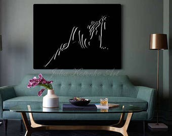 Nude Woman Oil Painting On Canvas Nude Art Black and White Art Original Painting Wall Art by Julia Kotenko