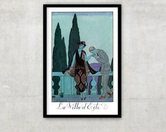 """Art Deco print vintage style fashion illustration, """"Le Villa d'Este"""" by George Barbier, IL002."""