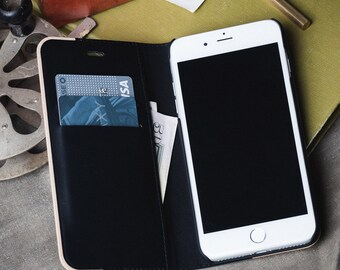 iPhone 7 Plus Case Wallet, Wallet iPhone 7 Plus Card Case, Maple Wood - FOL-MG-7P