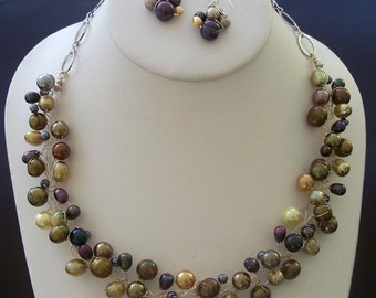 Silver, Peacock, Gold, and White Genuine Freshwater Pearl Wire Wrapped Bird's Nest Collar Necklace