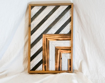 Reclaimed wood geometric design wall art