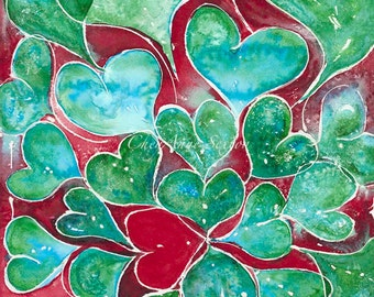 Turquoise Hearts ORIGINAL WATERCOLOR One Red Heart Oversized Wall art Red Turquoise Green love watercolour 14x21