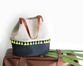 Ethnic bag with yellow pompom - navy blue and beige - leather handles - cotton tote bag