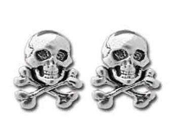 Sterling Silver Skull Crossbones  Stud Earrings, Skull Earrings,  Crossbones Earrings