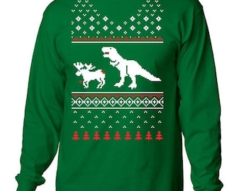 Ugly Christmas Sweater, Worst Sweater, Horrible Sweater, Tacky Xmas Jumper, Reindeer Sweater, T Rex Top, Co Worker Gift