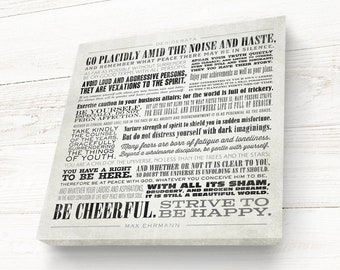 Desiderata, Desiderata Print, Square, Hand-stretched Canvas on solid wood stretcher bars, READY TO HANG, Canvas Gallery Wrap