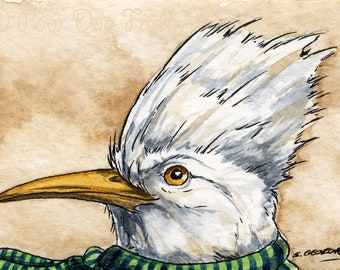 The Hoopoe Starling ~~ No 85 of 100 series- ~ signed watercolor print