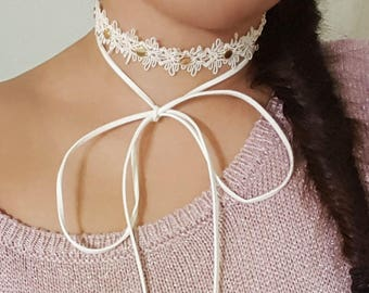 Crystal Choker, Wrap Necklace, Ivory Choker, Contemporary Choker, Bridal Choker, Modern Necklace, Wrap Choker Necklace, Lace Choker Necklace