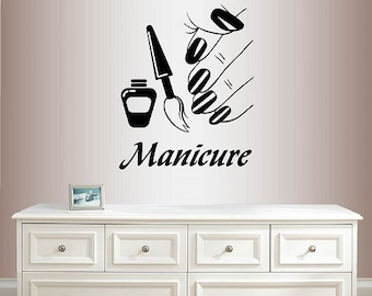 Wall Vinyl Decal Home Decor Art Sticker Manicure Nail Salon Shop Nail Polish Bottle Hand Nails  Removable Stylish Mural Unique Design 1996