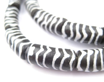 30 Zebra Krobo Powder Glass Beads - Animal Pattern Beads - Elbow Glass Beads - Krobo Glass Beads - Fair Trade Beads (KRB-ELB-BLK-76)