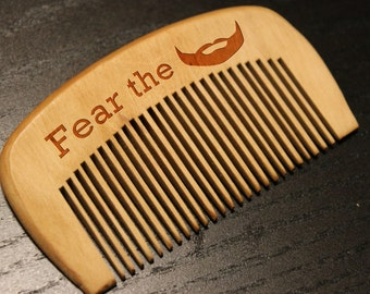 Personalized Wooden Beard Comb, Gift for dad, Gift for him, Wooden hair comb, Beard comb, Moustache comb, For men, Fear the beard Engraved