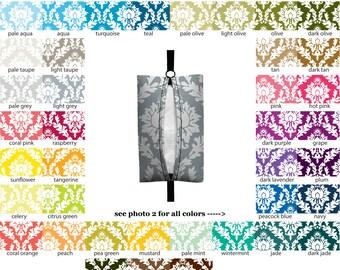 Auto Sneeze - Damask - PICK YOUR COLOR - Visor Tissue Case/Cozy - Car Accessory Automobile damask floral flower