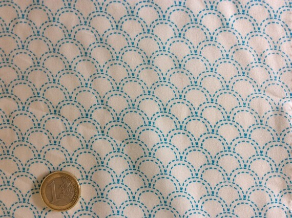 High quality cotton poplin, white/turquoise Japanese geometrical print