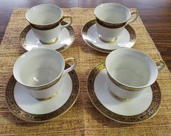 Vintage 1970s Sango, Hampton Pattern,  Cups and Saucers Sets set of 4