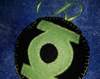 Green Lantern inspired felt ornament