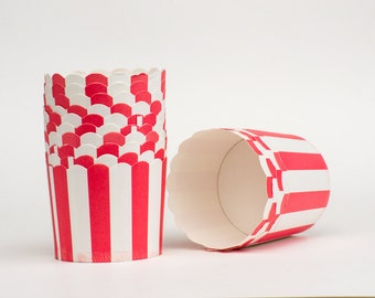 Red Stripe Nut or Portion Paper Baking Cups with Scalloped Tops - set of 12