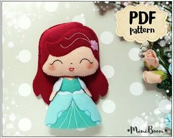 Ariel pattern felt Princess doll pattern PDF Ariel sewing pattern felt Disney princess pattern Aries doll pattern felt Easy pattern felt