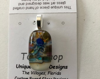 Fused Glass Pendant with silver inclusions