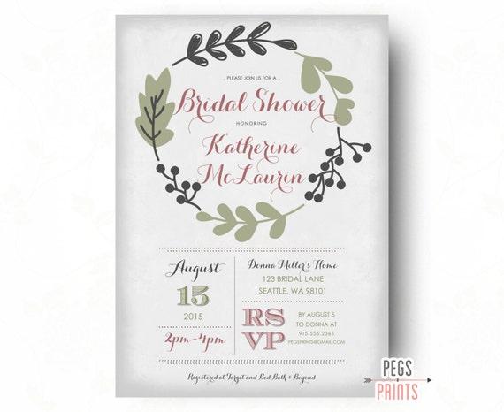 Fern bridal shower invitation shabby chic bridal shower filmwisefo