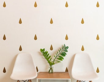 Gold Raindrops | Pattern Animals Kids Nursery | Removable Wall Decal Sticker | MS171VC-Gold