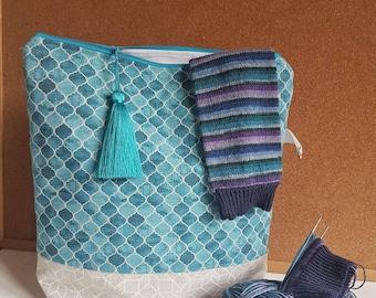 Large knitting project bag/crochet bag/ yarn bag/ gift for knitter/ gift for mother