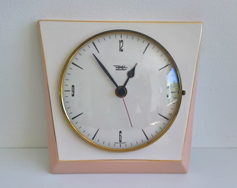 Diehl Electro, Ceramic Wall Clock, Nr 1628, Pastel Pink, White, West German Pottery, 1960s