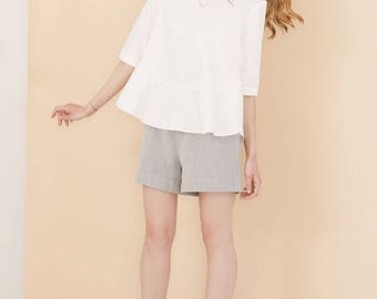 White organic cotton top - Oversize spring blouse - Sustainable womens clothing