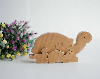 Wood animal puzzle, Mothers day gift, Mother and baby puzzle, Wooden toy for toddlers, Wood Puzzle Turtle, Baby shower, Children puzzles